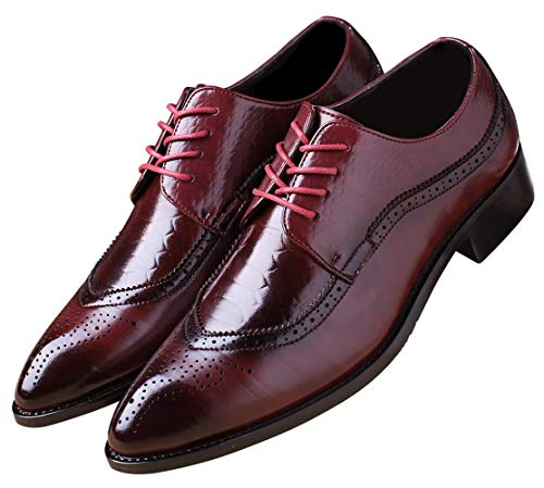 Oxford Shoes Men Brogue Pointed Toe Wingtip Lace-up Leather Formal Dress Shoes...