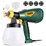 Paint Sprayer, TECCPO 600 Watts Up to 100DIN-s, 4 Nozzles sizes & 3 Spray Patterns, High Power HVLP Electric Spray Gun with 1300ml Detachable Container, Adjustable Volume Dial for Home & Gardening