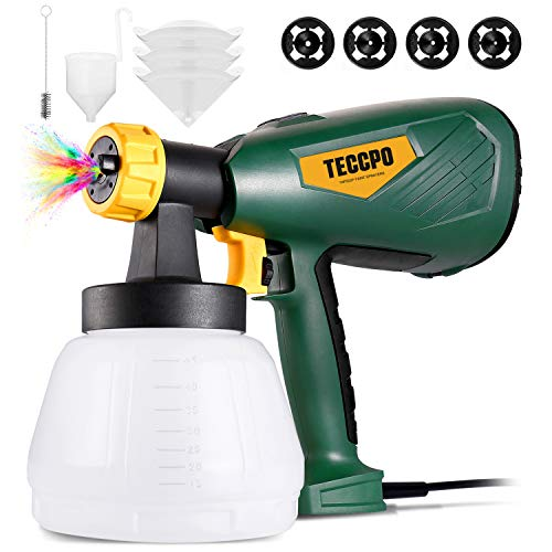 TECCPO Paint Sprayer, 600W, 1300ml Container, HVLP Electric Spray Gun, 4 Nozzles & 3 Spray Patterns, Easy Spraying and Cleaning, Perfect for Cabinet, Wall, Fence & Gardening