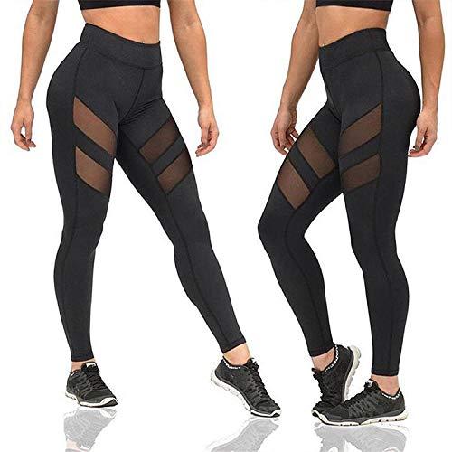 Gedessineerde hoge taille Smokte taille Dun,Sport hardlooplegging, mesh yoga legging-zwart_S, Baggy Jumper Casual tops Blouse T-shirt