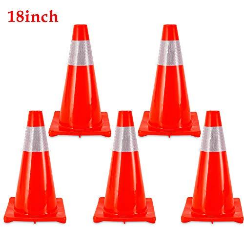 5 conos de calle de 18 pulgadas, cono de tráfico, cono de emergencia 45 cm