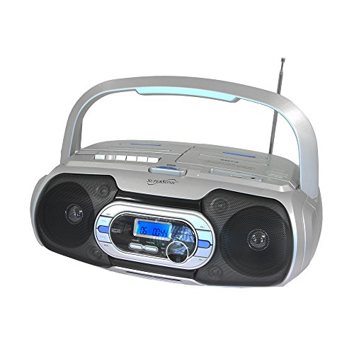 Supersonic Bluetooth Compatible Portable MP3/CD Cassette FM Radio Boombox, White, Small (SC-729BT)