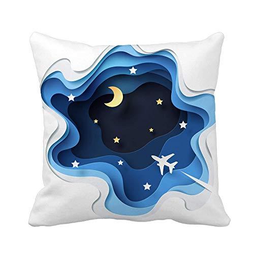 N\A Throw Pillow Cover Zusammenfassung von Little Plane Flying Through Cloud zu Sky Pillowcase Home Dekorative quadratische Kissenbezug Kissenbezug