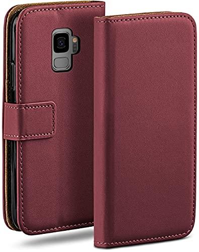 moex Klapphülle für Samsung Galaxy S9 Hülle klappbar, Handyhülle mit Kartenfach, 360 Grad Schutzhülle zum klappen, Flip Hülle Book Cover, Vegan Leder Handytasche, Weinrot
