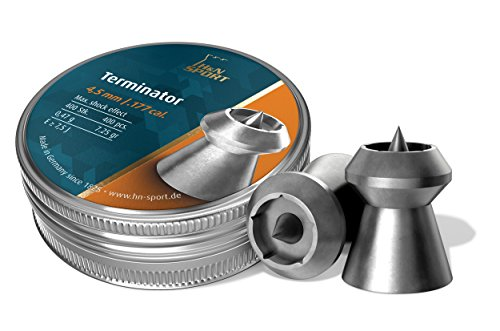 H&N Terminator Hollowpoint Airgun Pellets, Stunning Accuracy and Deadly Force for Hunting, .177 Caliber, 7.25 Grains (400 Count)