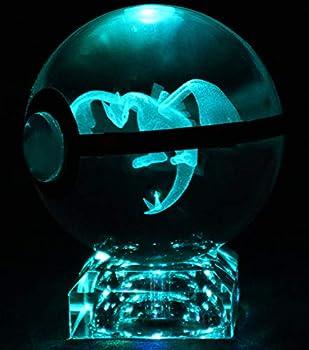 Large 3D Crystal Pokeball LED Laser Engraved Custom Night Light Lamp + Crystal Base & Gift Box  Lugia