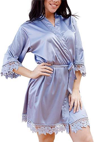 Women's Lace Trim Kimono Robe Bridesmaid Satin Short Bathrobe Oblique V-Neck Solid Silk Sleepwear Nightgown (Dusty Blue, Plus Adult (2XL-3XL))