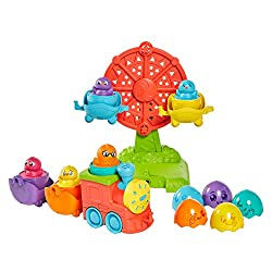 SHAPE SORTER: Introduce your baby to the world of shapes by matching the Hide and Squeak eggs to their correct carriages. Discover different coloured chicks and swap them around to mix and match and make your favourite colour combinations PRESS AND L...