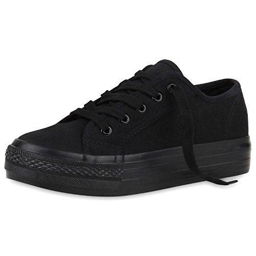 SCARPE VITA Sportliche Damen Plateau Low Sneakers Bequeme Schnürer Schuhe 160554 Schwarz Basic 38