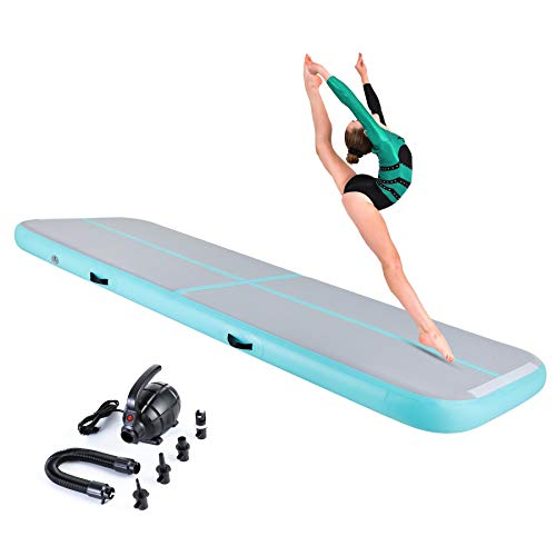ZELUS 10ft Inflatable Gymnastics Air Mat, Air Track Tumbling Mat with for Home Use/Training/Cheerleading/Yoga/Water Fun with Electric Pump