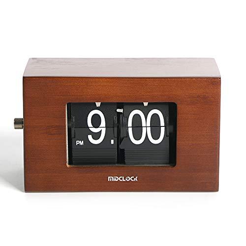 置き時計 Midclock レトロ パタパタ時計 おしゃれ 木目 入学 新築祝い 贈り物 プレゼント 竹製 卓上時計 フリップ時計 インテリア雑貨 リビング オフィス 時計 (ナチュラル)