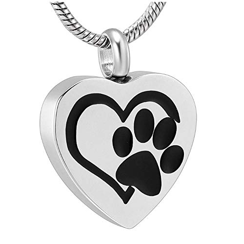 Wxcvz Colgante Cenizas Collar De Urna De Cremación De Acero Inoxidable, Colgante De Recuerdo para Cenizas De Perro/Gato, Joyería Conmemorativa para Mascotas, Corazón con Estampado De Pata