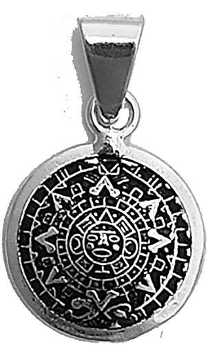 Colgante de calendario azteca de plata 925, amuleto mexicano