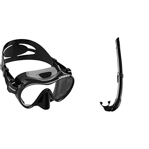 Cressi F1 Mask Máscara Monocristal Tecnología Frameless, Unisex, Negro, L + Corsica EG268550, Tubo Respiradores para Apnea, Snorkeling,Pesca Bubmarina, Buceo. Color Negro/Negro