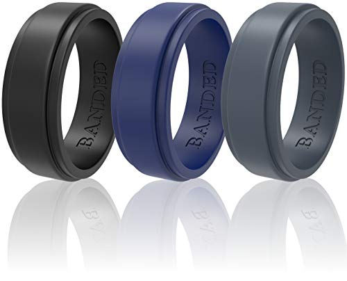 Silicone Wedding Rings 3 Pack Wedding Bands All Sizes for Active Men and Women, Fitness, Engineers, Sports, Weightlifting | Comfortable Fit, Skin Safe Soft Rubber Wedding Rings (Black, Blue, Gray, 10)