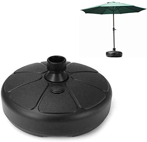 Bluelans Base de parasol en plastique de forme ronde pour parasol de jardin, parasol rempli de sable d'eau, terrasse, cour, support de parasol adapté pour tringle de 35 à 38 mm Noir