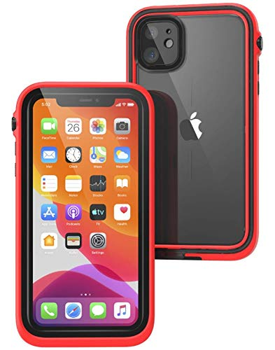 Waterproof Case for iPhone 11 with Lanyard, Clear Back, Military Grade Quality, 33ft Waterproof, 6.6ft Drop Proof, Built-in Screen Protector, Retail Packaging - Flame Red