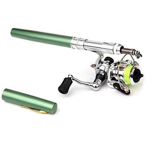 Lixada - Juego de carretes de pesca de bolsillo, 1 m   1,4 m, mini caña de pescar telescópica + carrete de spinning ligero para principiantes y niños que viajan a la pesca, Verde, 1.4M