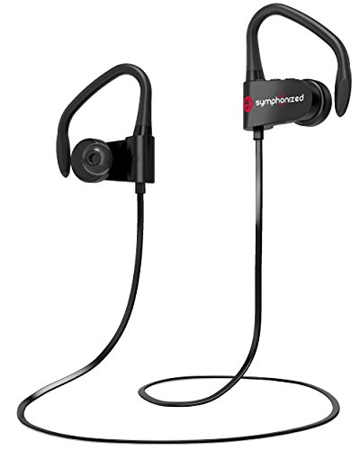 Symphonized PWR Bluetooth Earbuds, Wireless, Water Resistant Sport Earphones with Mic, HD Stereo, Sweatproof in-Ear Headphones, Secure Fit Buds, Gym, Running, Workout, Travel Headset (Black)