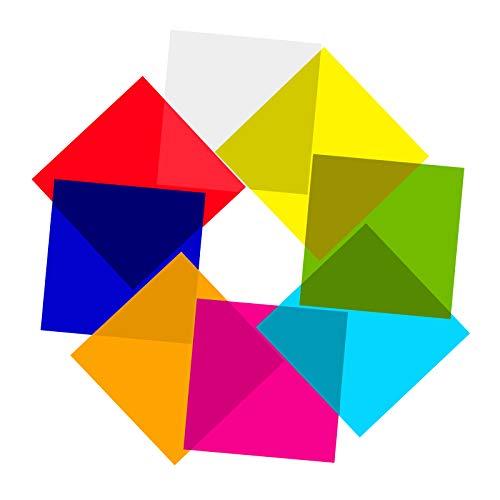 AIEX 120 Hojas De Celofán De Colores Envoltura De Celofán De Colores De 19x19CM Para Dulces Hojas De Transparencias De Colores Para Alimentos, Decoración De Manualidades De Bricolaje (8 Colores)
