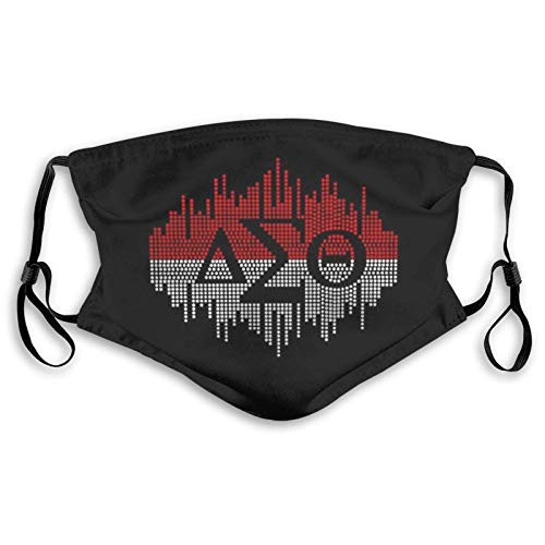 Delta Sigma Theta Face Mask Washable Cloth Breathable Adjustable Reusable Dust Protection Outdoor for Womens Mens with 2 Filters Medium-Black with filters made in USA