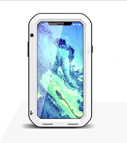 Carcasa para iPhone X de aluminio resistente a los golpes, a prueba de polvo, resistente al agua, de grado militar, carcasa resistente con parte trasera de silicona Gorilla Glass para iPhone X