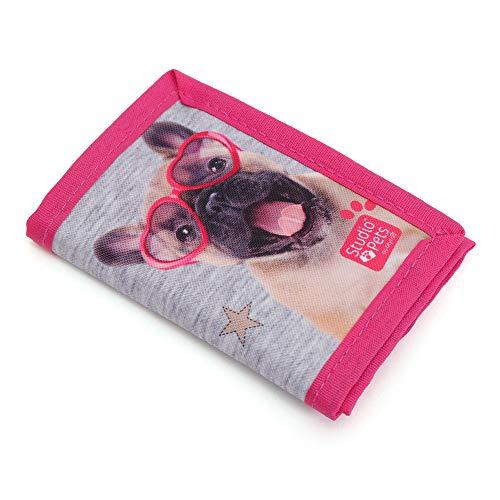 Kinder Portemonnaie 12x8x1,5 cm - Studio Pets Hund MIT Brille - PINK/GRAU