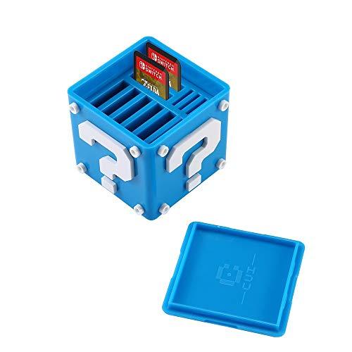 Spielkartenhalter für Nintendo Switch, Aolvo 12-in-1 Süße Spielkarten-Box, kompakte Aufbewahrungslösung, Organizer für bis zu 8 NS-Spielkarten und 4 Micro-SD-Karten, blau
