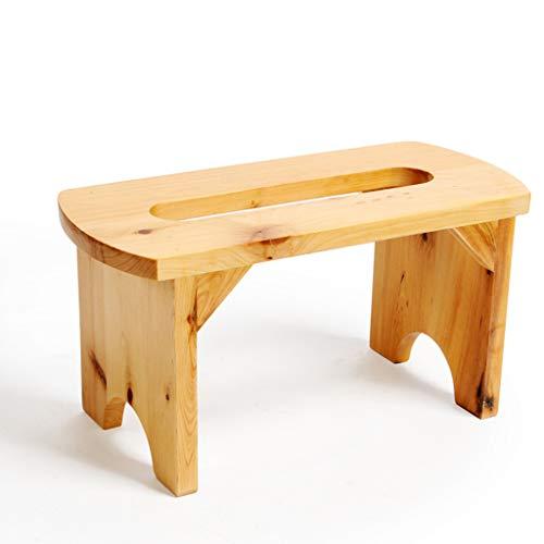 Fauteuils berçants Tabouret de bain petite chaise Banc de chaussures de mode Tabouret canapé Tabouret en bois massif (Color : Solid wood color, Size : 33 * 15 * 17cm)