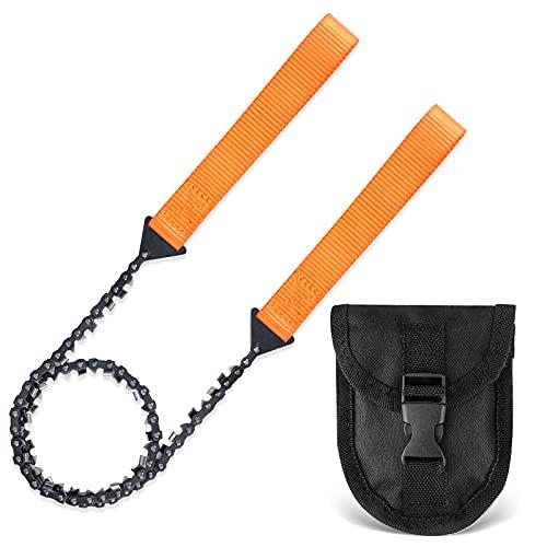 Sierra de Cadena Manual, Eletorot 103cm 33 Dientes Plegable Sierra de Cable para Supervivencia, Senderismo, Camping, Jardin