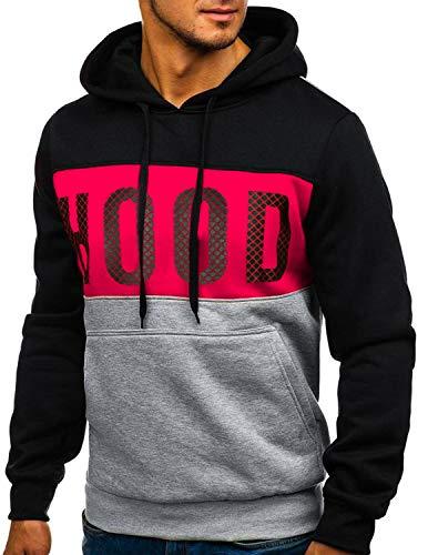 YIPIN Hombre Sudadera con Capucha Colores de Contraste Camiseta Manga Larga Otoño Hoodie Pullover Sweatshirt,Negro,M