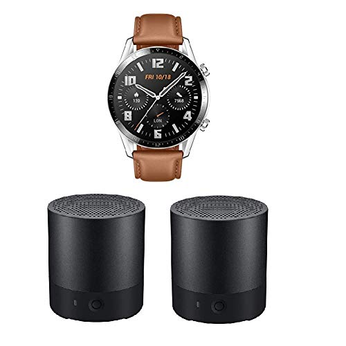 HUAWEI Watch GT 2 Smartwatch (46mm, OLED Touch-Display, Fitness Uhr mit Herzfrequenz-Messung, Musik Wiedergabe & Bluetooth Telefonie) Pebble Brown + 2X Bluetooth MiniSpeaker CM510, Schwarz