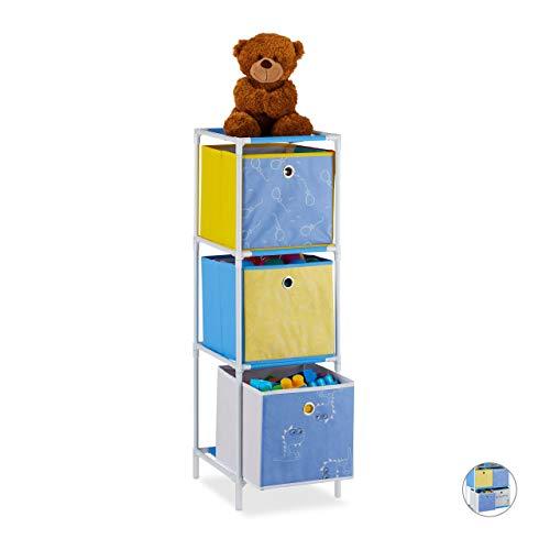 Relaxdays kinderkast, 3 boxen, jongens & meisjes, dino-design, plank kinderkamer, speelgoed, h x b x d: 89 x 27,5 x 30 cm, bont