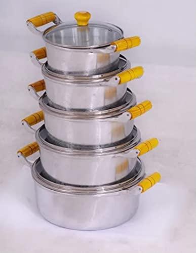 Jogo De Panelas De Alumínio Fundido Polido Com Tampa De Vidro 16 a 24cm