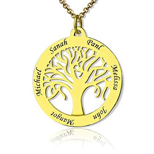 Runde Personalisiert Familie Namenskette Baum mit Gravur 1 bis 7 Namen für Mütter Mama Oma Damen in 925 Sterling Silber Rose Gold