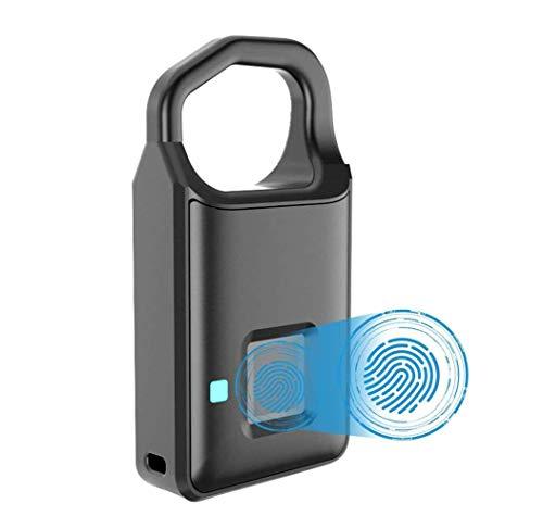 SMSOM Lucchetto di impronte digitali, app mobile, lucchetto intelligente con chiave senza chiave biometriche, resistente all'acqua, adatto per palestra, sport, bicicletta, scuola, recinzione e deposit