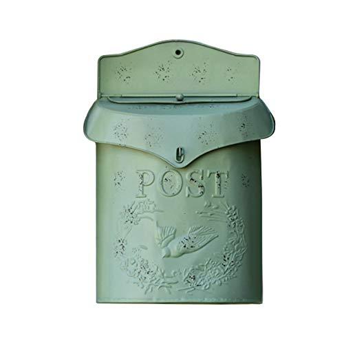 TentHome Wand Briefkasten Wandbriefkasten Postkasten Mailbox Metall Landhaus Post Zeitung Vogel Motiv Briefkastenanlage Farbiger Letterbox Abschließbar mit klappe (Grün)