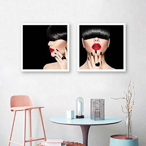 Fashion Model Girl Trendy Fringe Hair Style Prints Vrouw Make-up Lippen Manicure Poster Canvas Schilderij Schoonheidssalon Wall Art Decor 50cmx50cmx2 / geen frame