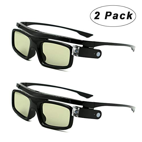 3D Glasses, Rechargeable Active Shutter Eyewear for 3D DLP-Link Projectors Acer BenQ Optoma Viewsonic LG Infocus NEC Jmgo Vivitek Cocar Toumei(Pack of 2)