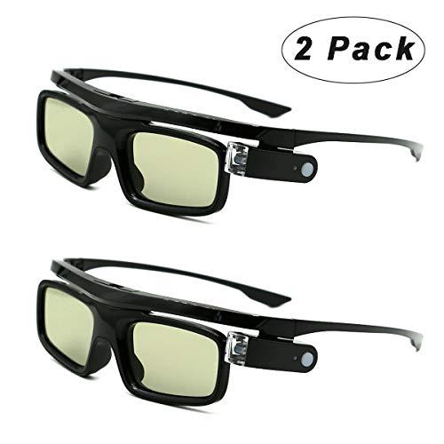 3D Gafas, Recargables Obturador Activo 3D Gafas Universales para Todos los 3D DLP-Link Proyectores Acer BenQ Optoma Viewsonic Philips LG Infocus NEC Jmgo Vivitek Cocar Toumei - Paquete de 2