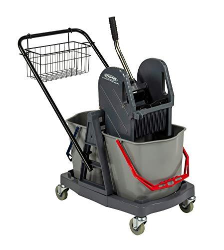 Sprintus Carro Limpieza 2x17 L Carro de limpieza gris Plástico, Doble prensa MOP para hornear