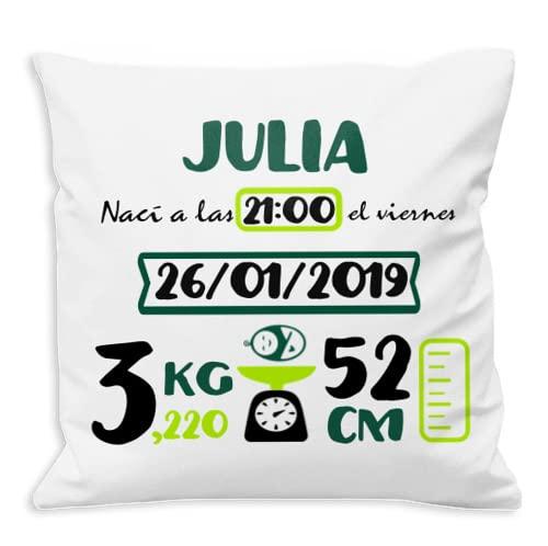 NANNUK - Cojín Nacimiento Personalizado Verde Botella y Verde Lima para recién Nacidos , se Personaliza con Nombre, Hora, Fecha, Peso y Medida del bebé.