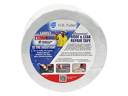 EternaBond RoofSeal White 4' x50' MicroSealant UV Stable Seam Repair Tape   35 mil Total Thickness   EB-RW040-50R - One-Step Durable, Waterproof and Airtight Repair