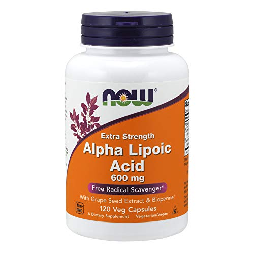 Now Supplements, Alpha Lipoic Acid 600 mg with Grape Seed Extract & Bioperine , Extra Strength, 120 Veg Capsules