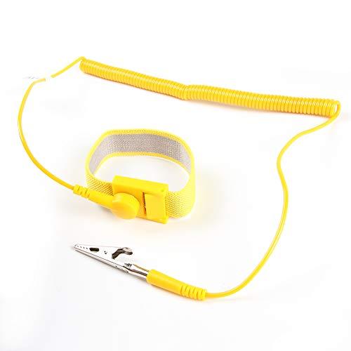 ESD Handgelenkband – FEITA antistatische Handgelenkschlaufe mit 2,4 m abnehmbarer, extra langer Spiralkordel – antistatisches Armband mit Krokodilklemme – Gelb – 1 Stück