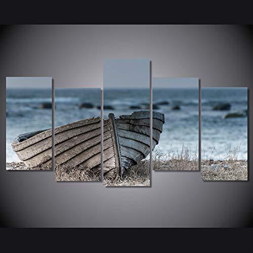 MCZQT Hd gedrukt op canvas muurkunst schilderij 5 panelen houten boot decoratie poster afbeelding huis woonkamer 30x40cmx2 30x60cmx2 30x80cmx1