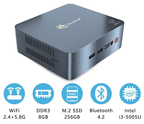 Beelink U55 Mini PC Arbeitsspeicher 8GB SSD-Speicher 256GB Intel i3-5005U Prozessor Ventilator Wärmeableitung DIY-Speichererweiterung Dual-HDMI 3MB Cache Type-C 2.4/5.8GHz WiFi Desktop-PC
