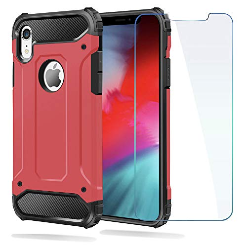 Ewaves_usa iPhone Xr Case, Shockproof Heavy Duty Case with [Screen Protector Tempered Glass] Ewaves Full Body Anti-Scratch Protective Impact Resistant Silicone Cover for iPhone Xr, 6.1 inch (Red)