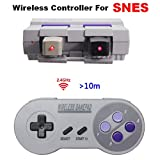 Wireless SNES Controller,2.4GHz Wireless Controller for Super NES Classic Edition&NES Classic Edition,Cordless Super NES Controller/Gamapad with Extra USB Adapter for PC,Raspberry PI (2 Colors Button)