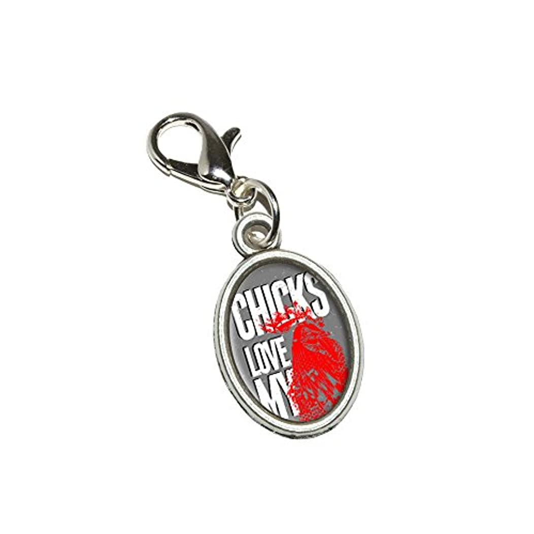 Graphics and More Chicks Love My Rooster - Chicken Cock Antiqued Bracelet Pendant Zipper Pull Oval Charm with Lobster Clasp